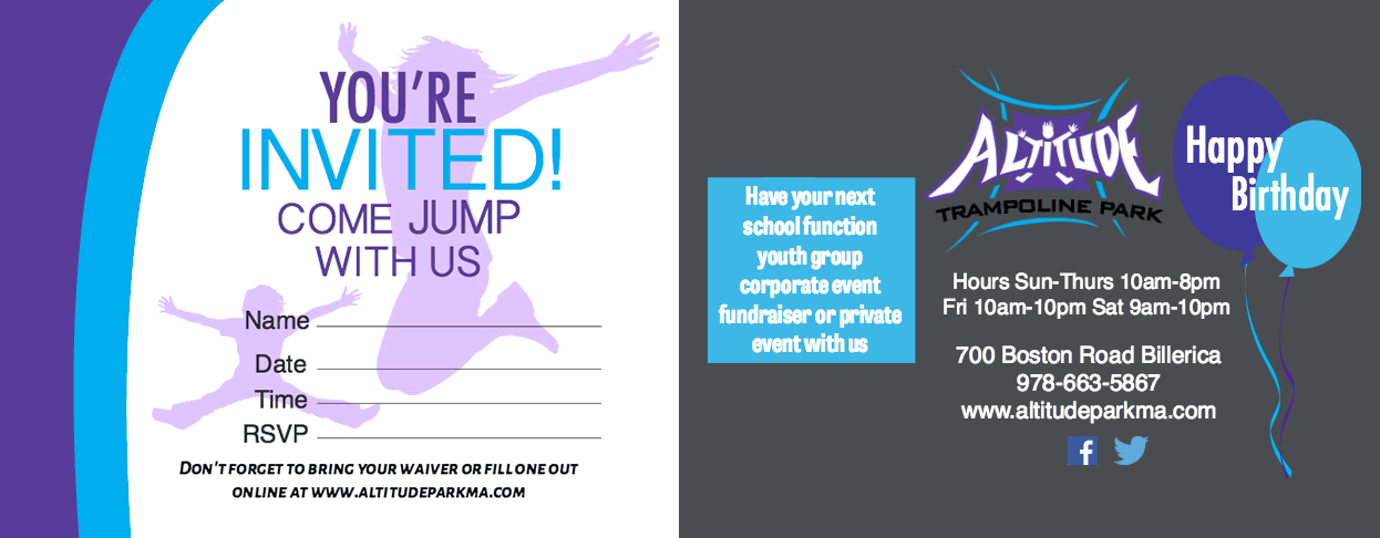 Altitude Trampoline Birthday Party Invitation