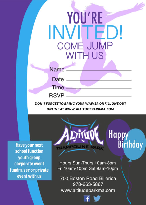 Free Printable Invitations For A Trampoline Park | Party ...